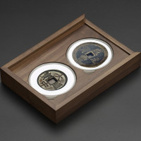 老钱庄黑胡桃2枚装71mm圆盒钱币盒(MH2B)