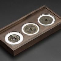 老钱庄黑胡桃3枚装71mm圆盒钱币盒(MH3B)