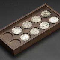 黑胡桃十枚40mm银元裸币装钱币盒(MH10DS)
