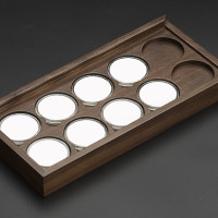 黑胡桃十枚45mm圆盒装钱币盒(MH10D)